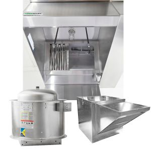 Restaurant Hood System w/(BRP) Back Return Plenum Makeup-Air 16'x48″