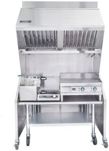 Ventless 4ft Package 15lb Fryer, 24″ Griddle, 1800W Induction Range, Table