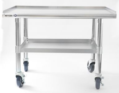NAKS 36″ x 27″ 16 Gauge Stainless Steel Equipment Stand with Undershelf and Casters