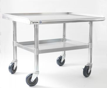 NAKS 48″ x 27″ 16 Gauge Stainless Steel Equipment Stand with Undershelf and Casters